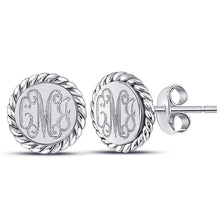 Load image into Gallery viewer, Engraved Sterling Silver Rope Stud Earrings