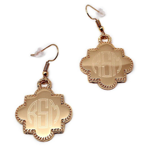 Engraved Fashion Quatrefoil Tassel Earrings