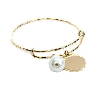 Engraved German Silver Adjustable Pearl Bracelet