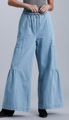High Rise Elastic Waist Wide Leg with Drawstring & Pocket Jeans
