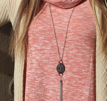 Load image into Gallery viewer, Engraved Fashion Oval Tassel Necklace