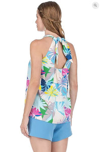 Tie Back Halter Top Palm Print