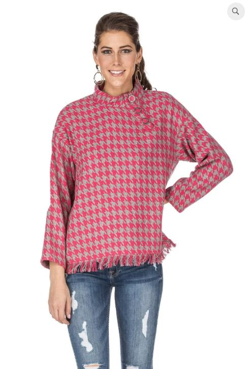 Houndstooth Cape Top Pink