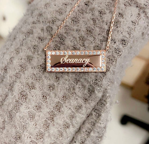 Sterling Silver Bar Diamond Necklace