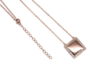 Sterling Silver Square Diamond Pendant Necklace