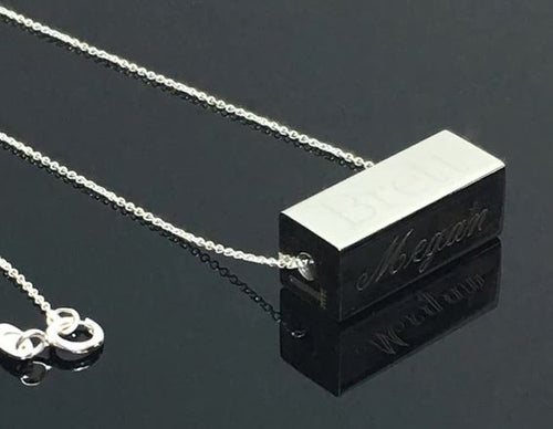 Engraved Stainless Steel Horizontal 4 Side Bar Necklace