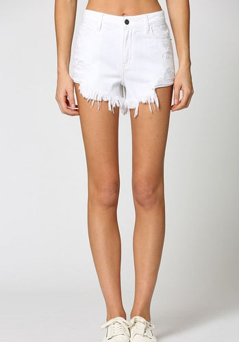 Finn High Rise Fray Shorts White