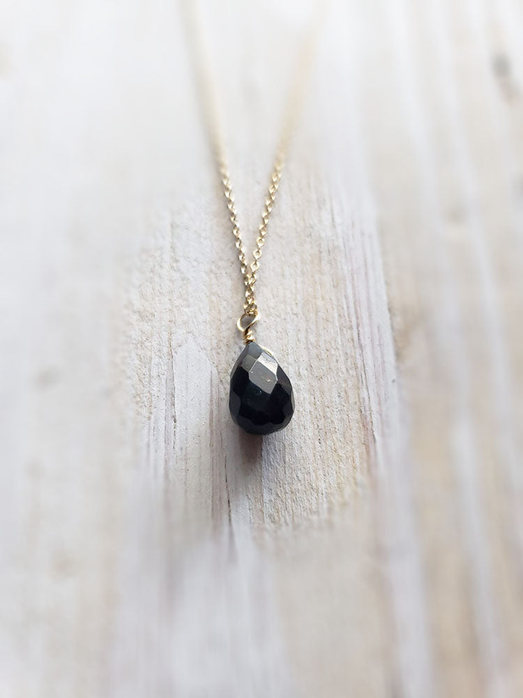 Tiny Black Onyx Tear Drop Necklace