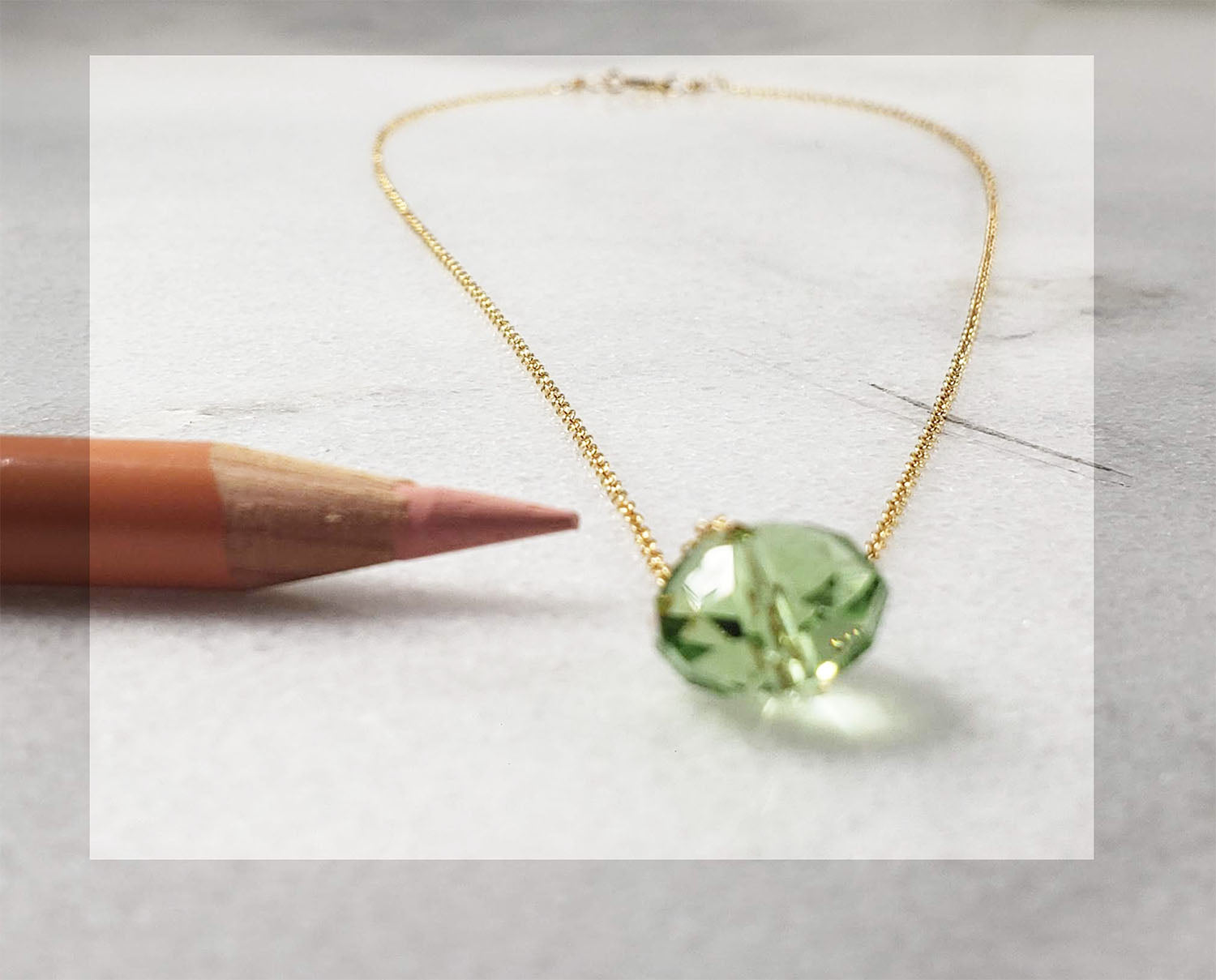 Minimalist Handmade  Peridot Crystal Pendant Necklace Personalized minimalist chains in Sterling Silver, Rose Gold or Gold,  single gemstone