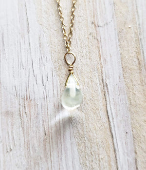 Aquamarine Gemstone Tear Drop Amulet