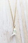Simple Gem Necklace in Natural Aquamarine Polished Tear Drop