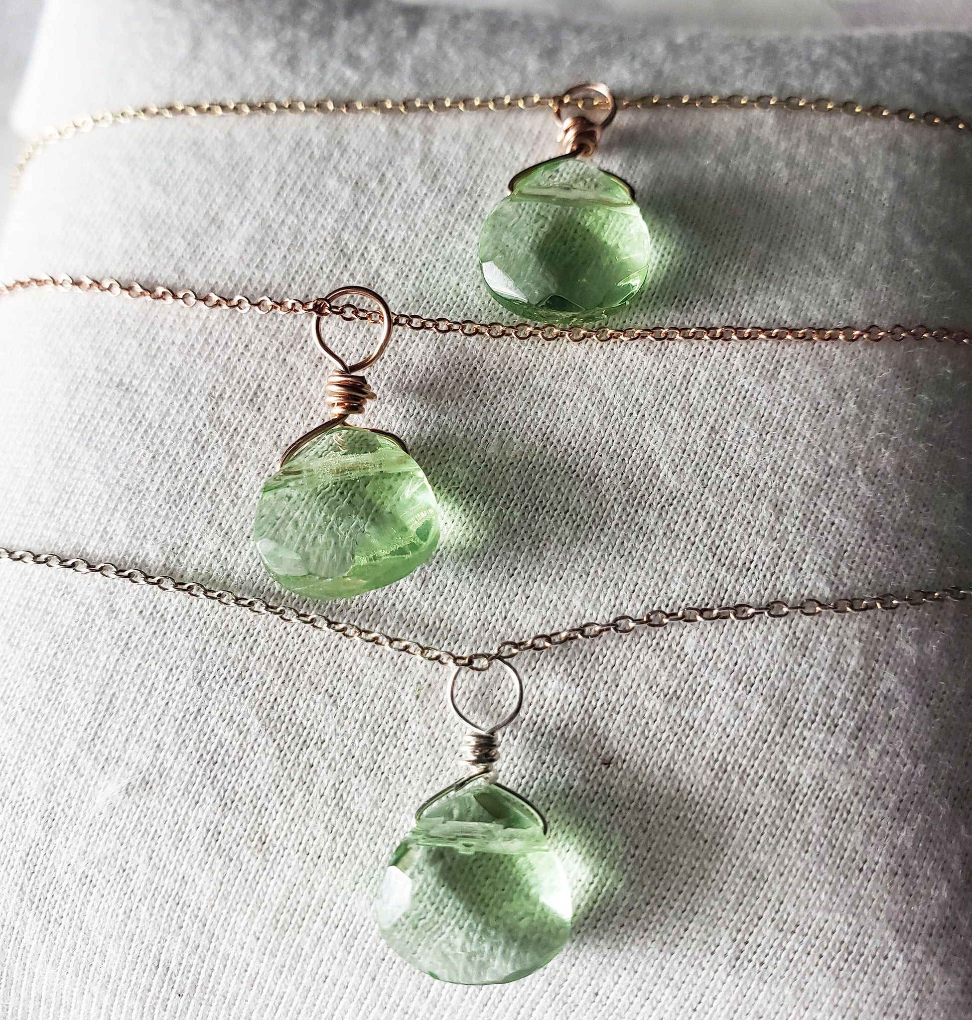 Peridot Acrylic Crystal Necklace Sterling Silver, Gold or Rose Gold