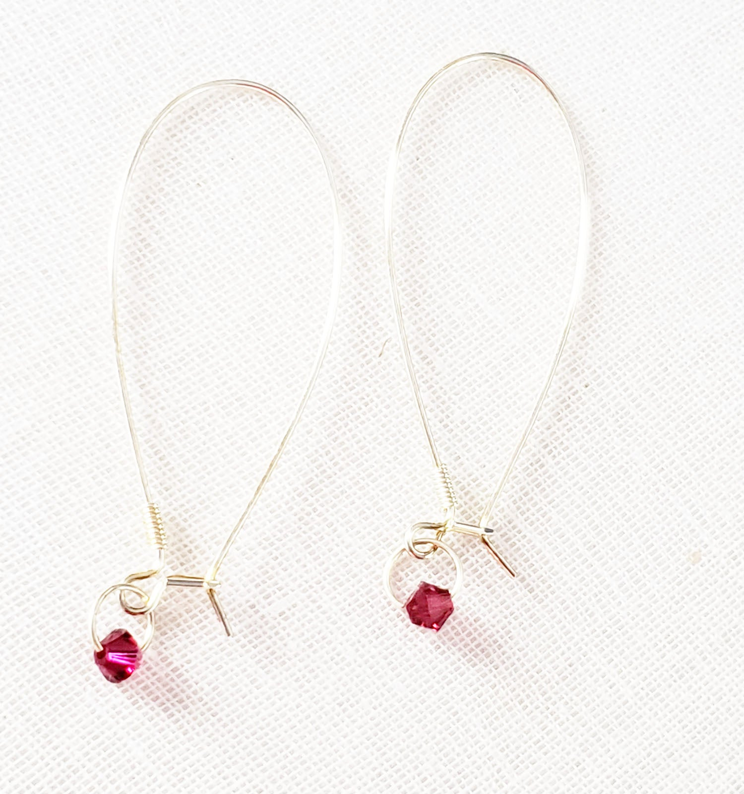 Swarovski Crystal Garnet Threader Hoops.