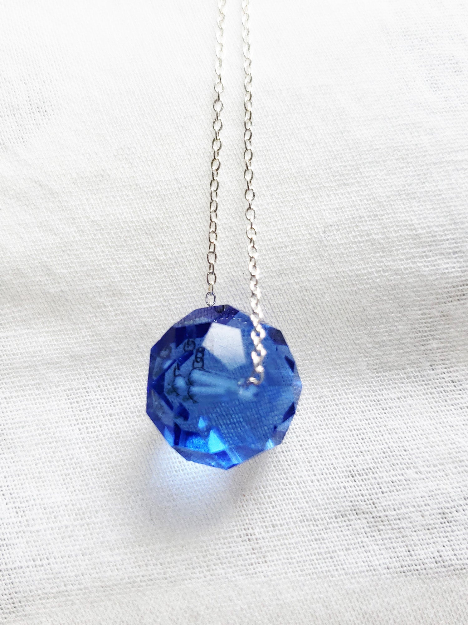 Round Sapphire Crystal September Birthstone Necklace