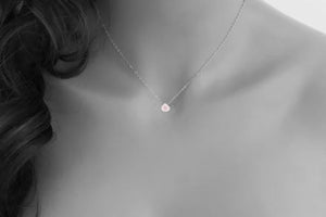 Simple Gem Necklace Genuine Gemstone Rose Quartz Necklace with Rose Quartz Pendant Perfect Gift for her Think Pink October Birthday or Gift for Her Healing and Women's Wellness  Rose Quartz Genuine Gem Stone is a Polished Tear Drop.