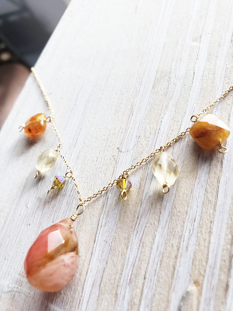 boho citrine and yellow garnet necklace