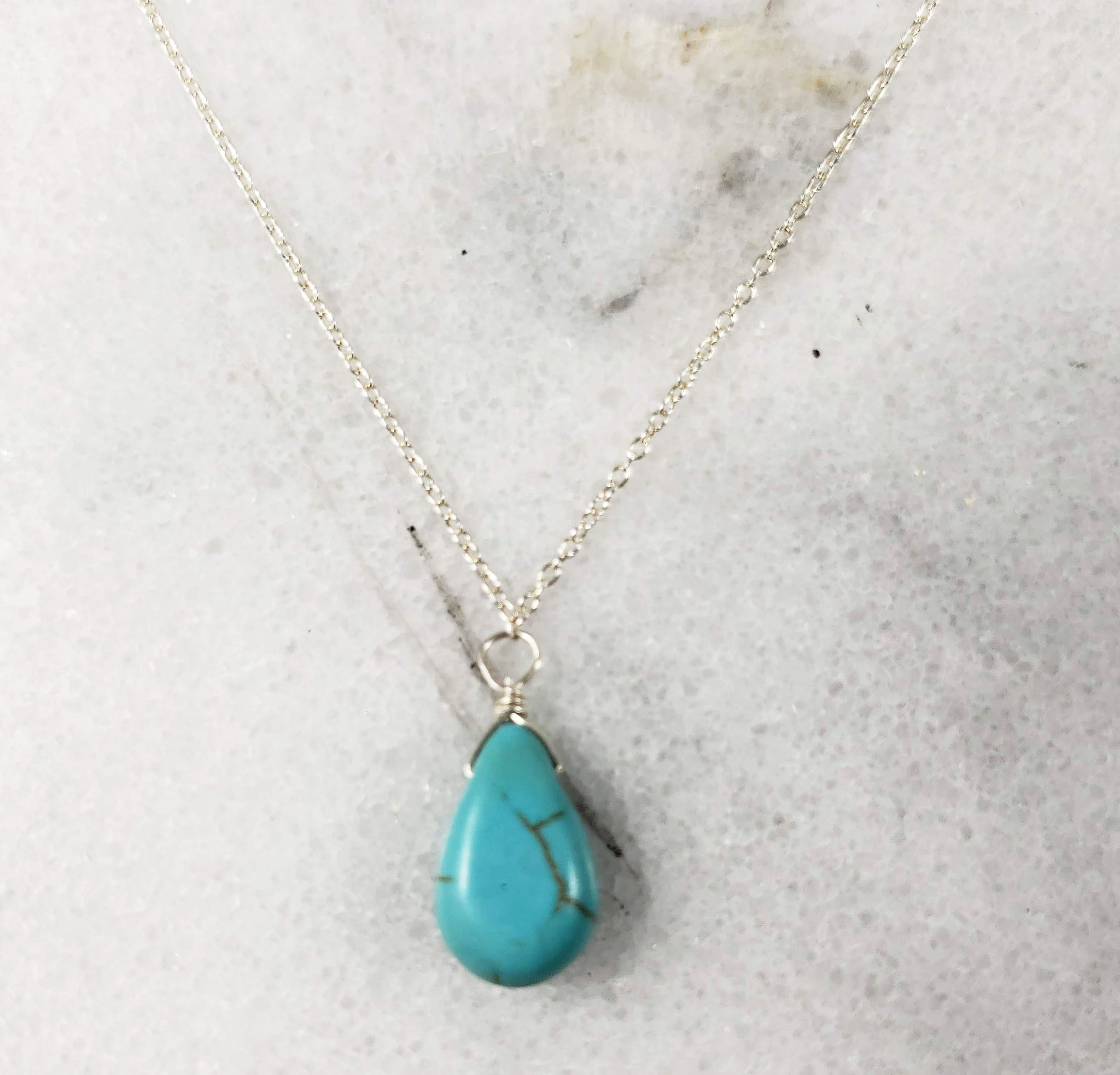 Turquoise  Necklace minimalist chains in Sterling Silver, Rose Gold or Gold