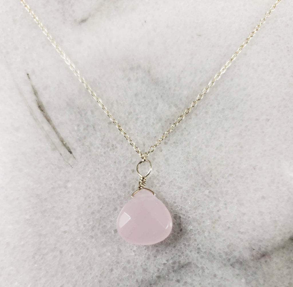 Rose Quartz Pendant Necklace  Tear Drop Briolette Cut