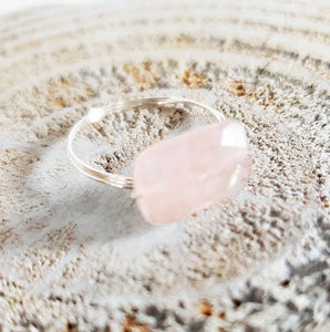Minimalist Rose Quartz Ring Perfect for her Think Pink October Birthday