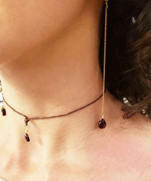 Garnet Long Single Drop Earrings