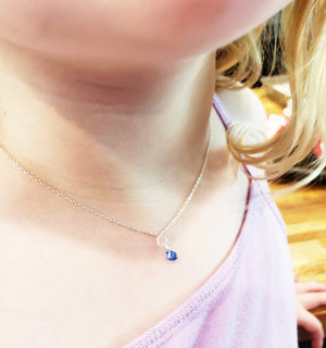 mommy and me Minimalist Handmade Swarovski  Sapphire Crystal September Birthstone Necklace Personalized minimalist chains in Sterling Silver, Rose Gold or Gold, with a single stone