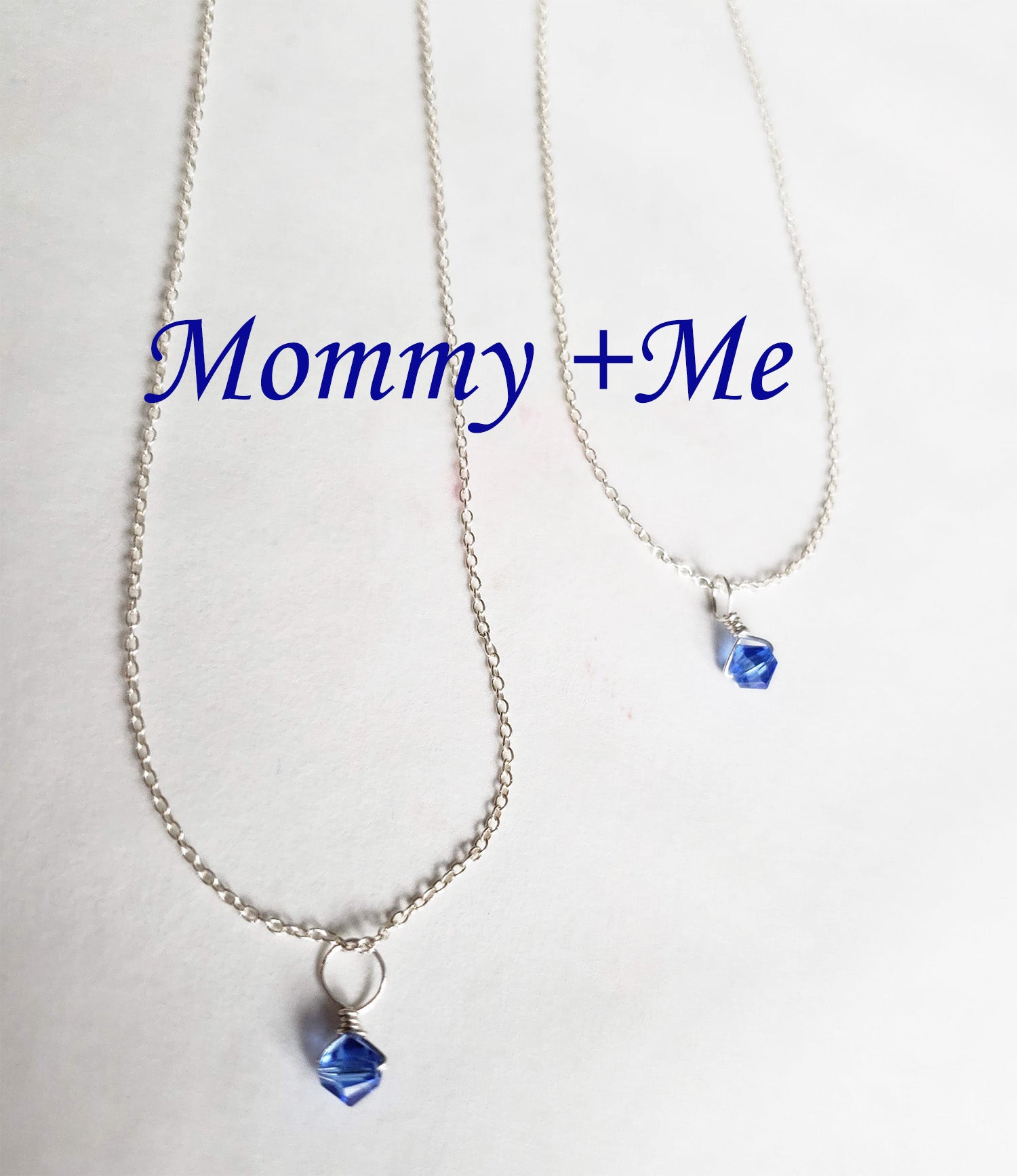 Tiny Swarovski  Sapphire Crystal September Birthstone Necklace