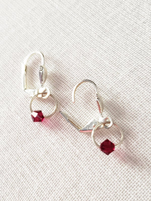 Swarovski Crystal Garnet Mini Door Knocker Hoops.