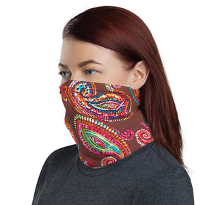 Nose, Mouth & Throat Protective Cover , Chocolate Brown &  Jewel Toned Paisley