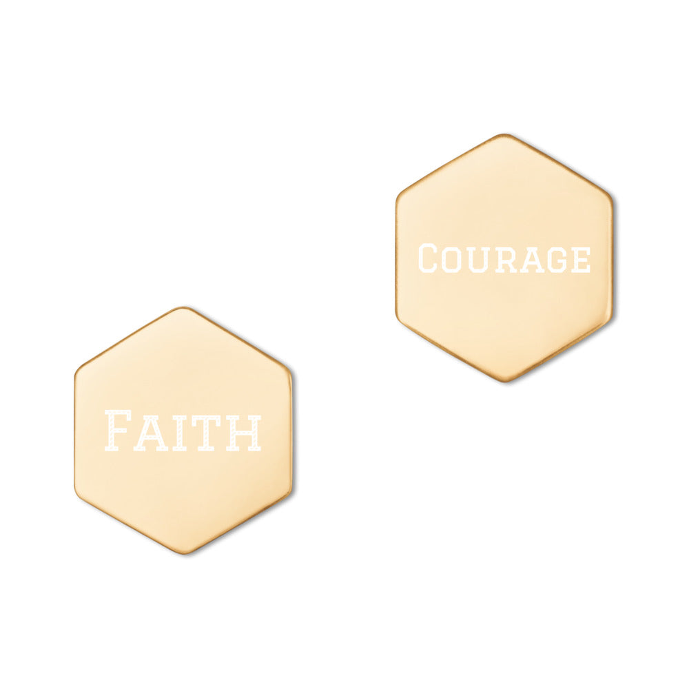 faith and courage custom earrings gold