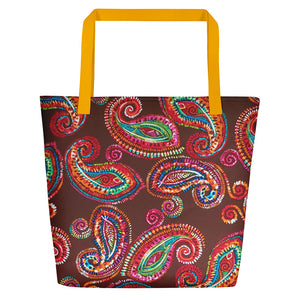 Boheme Collection  Chocolate Collection Paisly Beach Bag