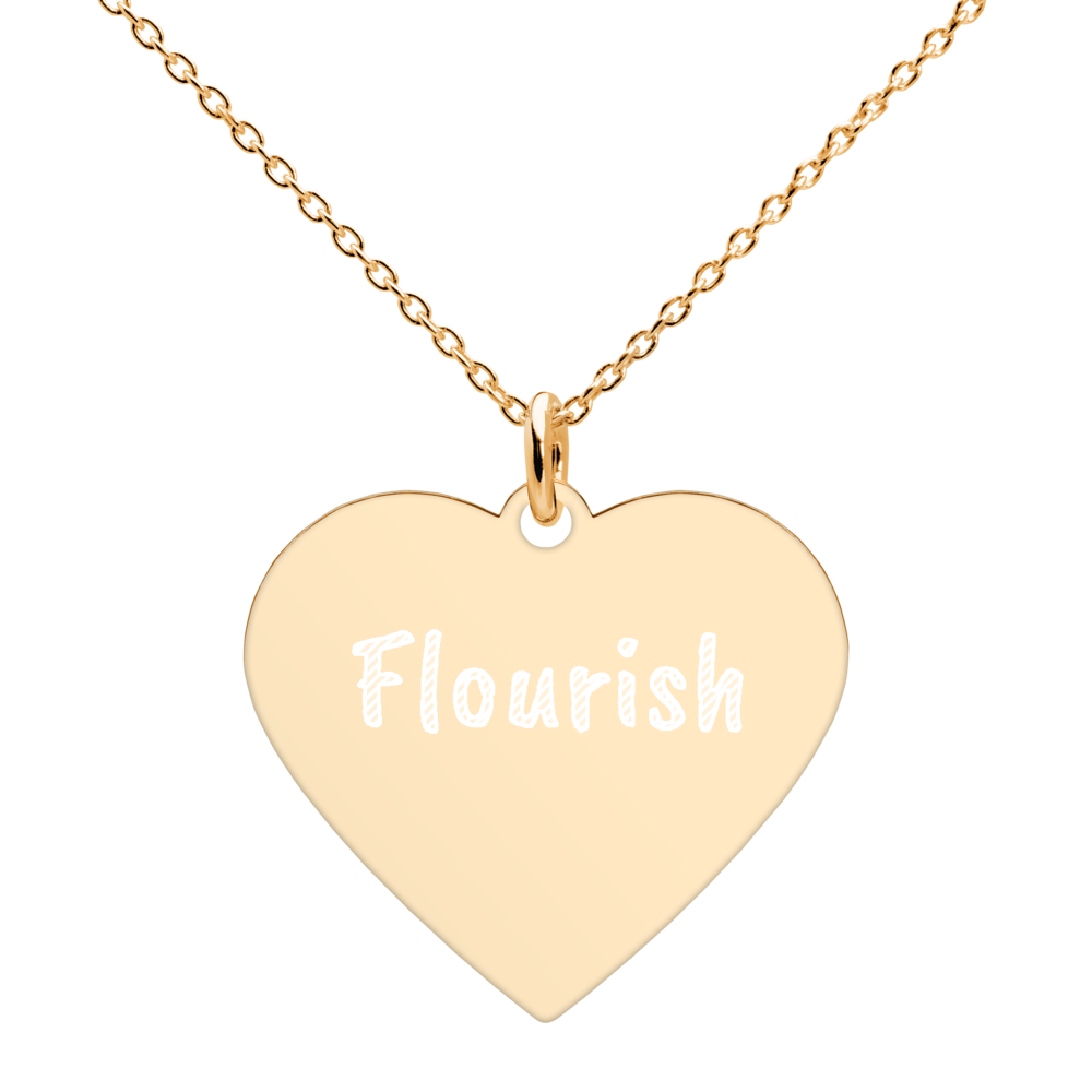 Heart Penandt Necklace Flourish ,Engraved , Silver, Rose Gold, Gold
