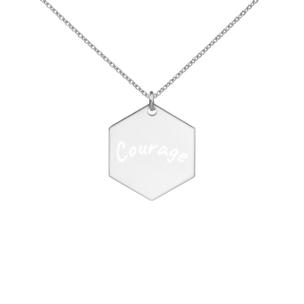 "Engraved ""Courage "" Hexagon Necklace in Rose Gold, Gold or Silver"