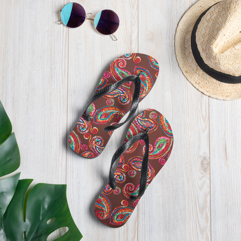 Chocolate Jewel Toned Paisley Collection Flip-Flops