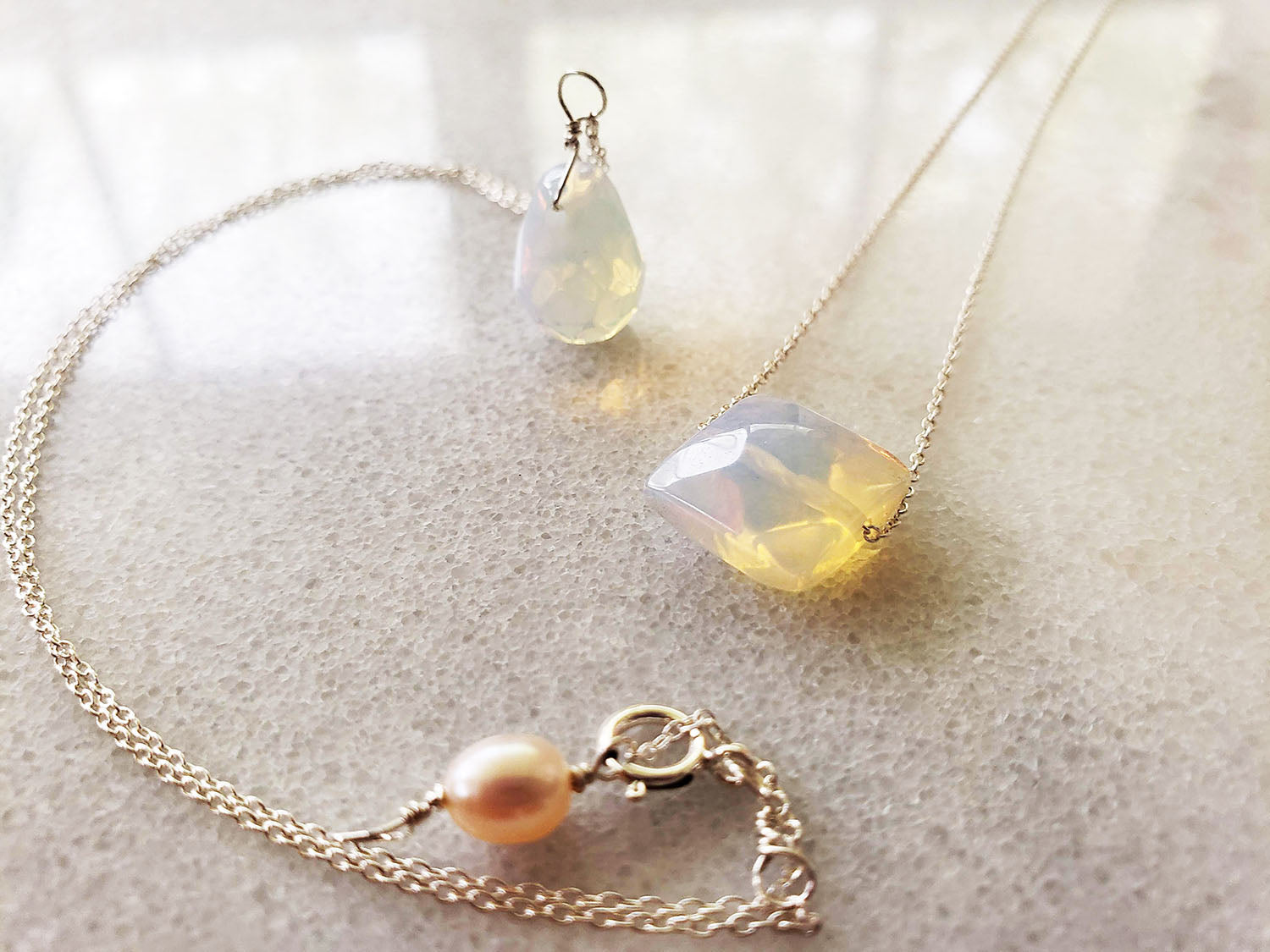 Moonstone Necklace  minimalist chains in Sterling Silver, Rose Gold or Gold