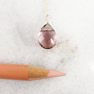 Minimalist Handmade Amethyst Resin Crystal Necklace Personalized minimalist chains in Sterling Silver, Rose Gold or Gold, with a single stone