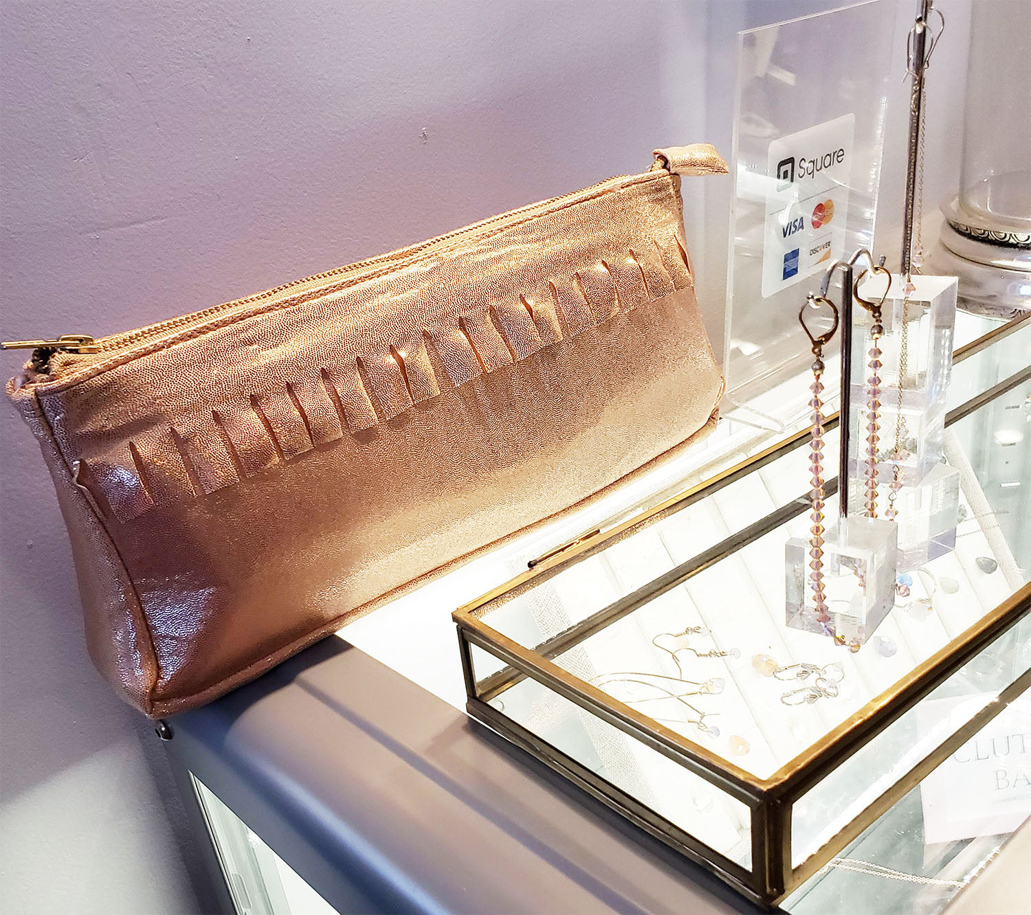 Metallic Jersey Clutch