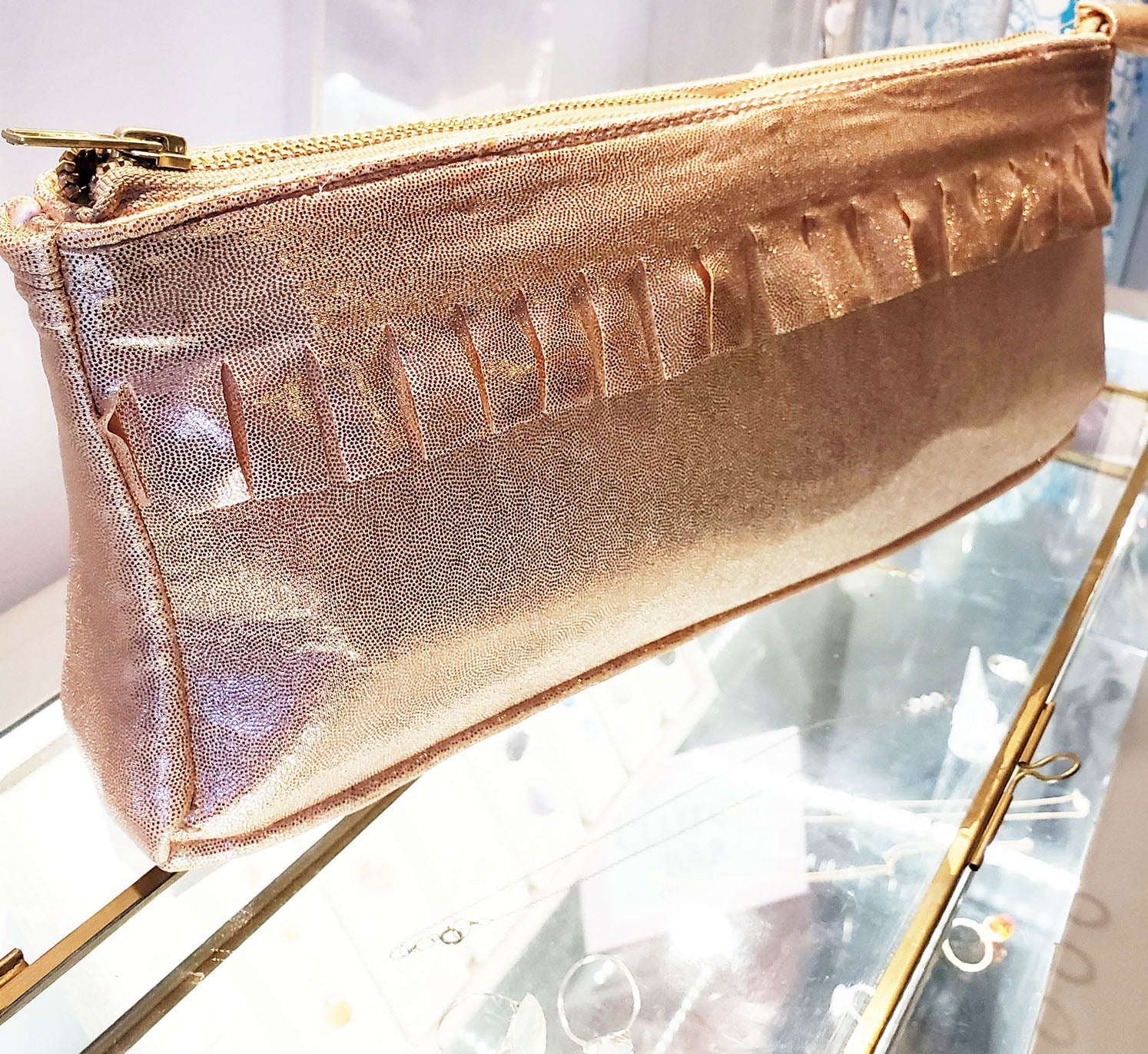 Metallic Jersey Clutch Rose Gold