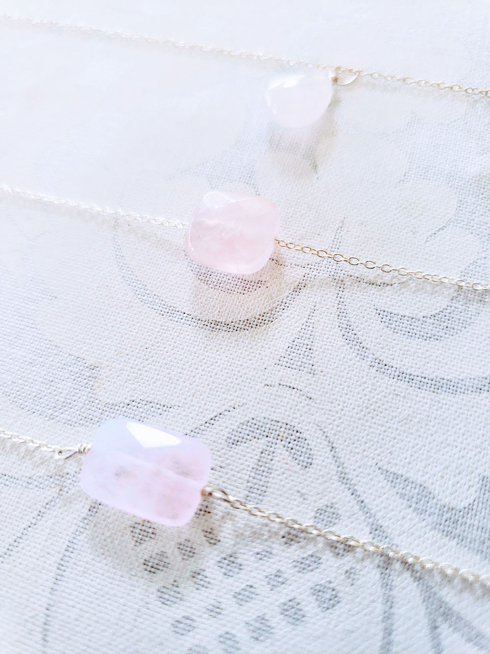 Rose Quartz  Necklace with faceted rectangle stone