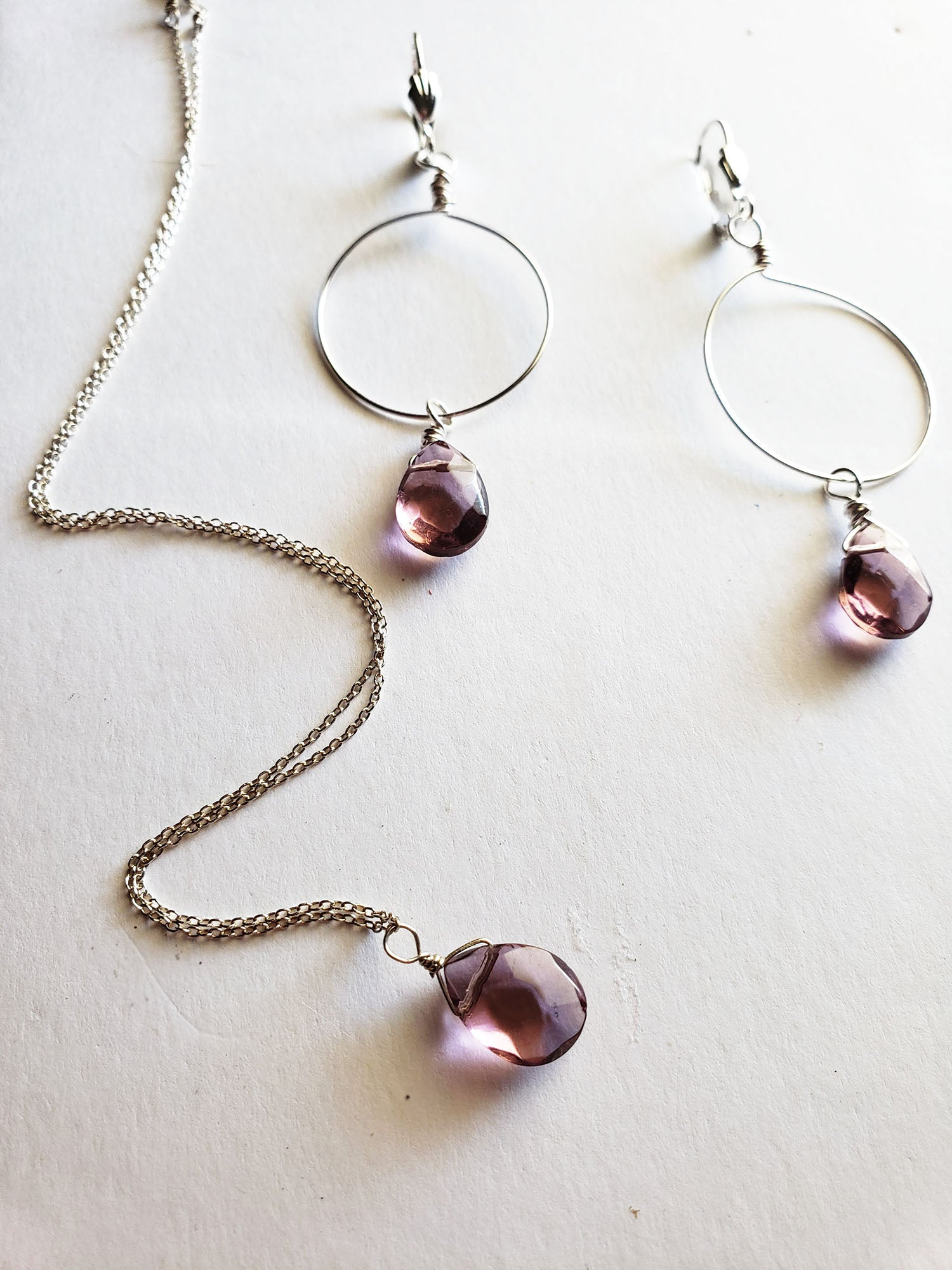 Amethyst Resin Crystal Necklace Sterling Silver, Gold or Rose Gold