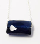 Vintage Cut Rectangle  Sapphire Crystal September Birthstone Necklace