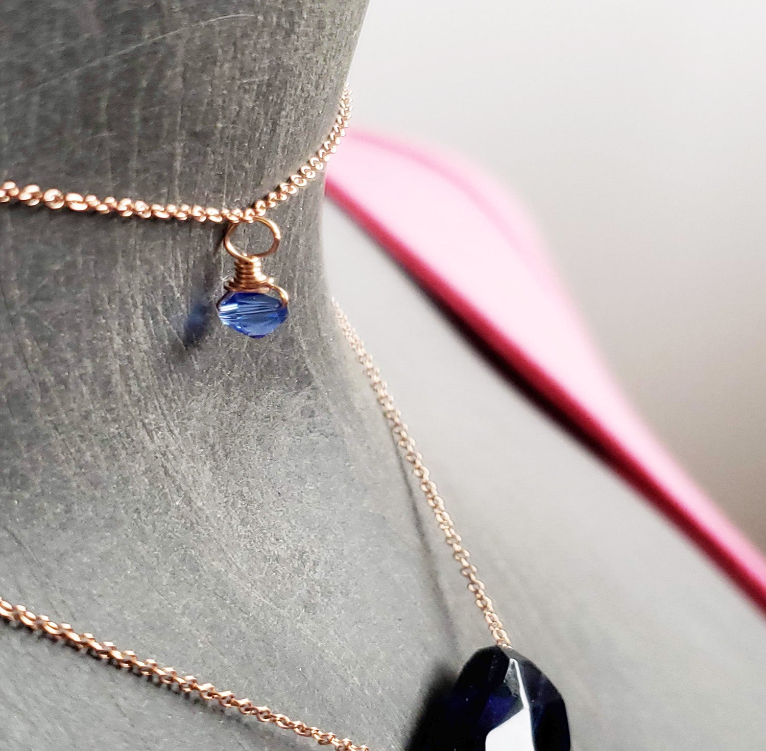 Minimalist Handmade Swarovski  Sapphire Crystal September Birthstone Necklace Personalized minimalist chains in Sterling Silver, Rose Gold or Gold, with a single stone