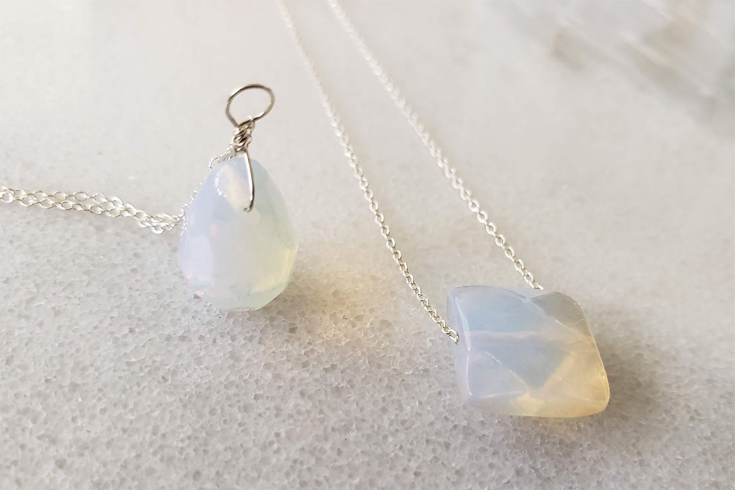 Moonstone Teardrop Necklace chains in Sterling Silver, Rose Gold or Gold