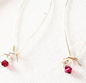 Swarovski Crystal Garnet Threader Hoops