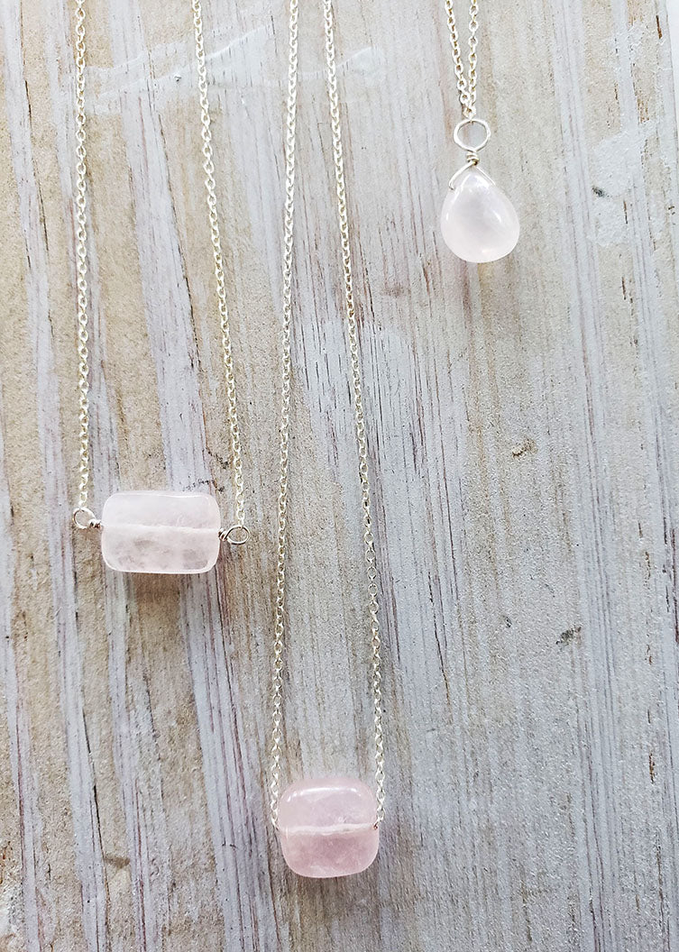 Simple Gem Necklace Genuine Gemstone Rose Quartz Necklace.