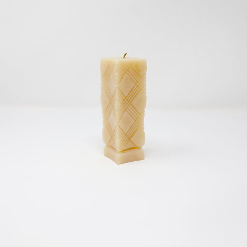 BeeGlo Textured Pillar Beeswax Candle