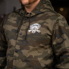 Load image into Gallery viewer, More Miles Less Bullsh*t Camo Windbreaker