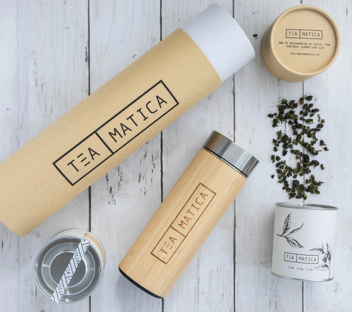 Teamatica Honey Dark Oolong Tea with Bamboo Tumbler  Closing Gift Tea Set