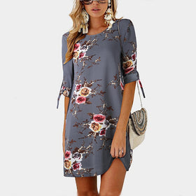 Summer Dress Boho Style Floral Print Chiffon Beach Dress Tunic Sundress Loose  Dress