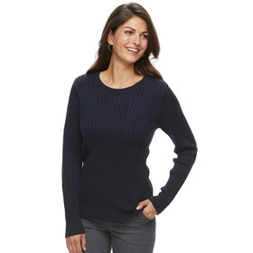 Women's Croft & Barrow® Classic Cable-Knit Crewneck Sweater