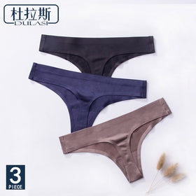 3pcs,Ice Silk Thong Panties Sexy Briefs Seamless Thongs Women Underwear Panties for Girls Ladies Panty G String Tangas